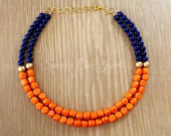 Orange and Navy Blue Color Block Statement Necklace