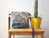 Ferns Crossbody bag, Hand printed bag, Ferns stamp, Small size handbag, Every day bag, blue bag, Denim bag