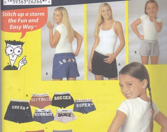 Simplicity 5729 Sewing Pattern Girls and Womens Alphabet Shorts in Variations Size Girls: Xsm - Lg, Ladies X Sm - X Lg UNCUT