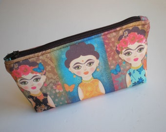 Cosmetic bag, zipper pouch, pencil case, Frida Kahlo, small bag, fabric pouch, printed pouch, gift for her
