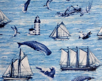 Whale Watching by AHS Fabrics/Quilting Sewing Craft Fabric/Sailing Ships Lighthouses Anchors Seagulls Seals Ocean/HALF Yard Pricing
