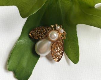 Pearl + Gold Beetle Brooch
