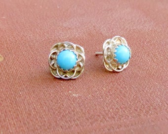 Clearance Sale - Turquoise blue - stud earrings - post earrings - wire flower - small studs