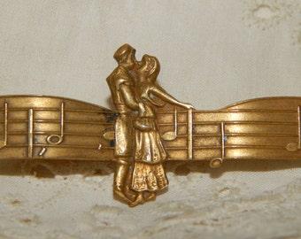 Merry Widow  - Music Score and Figures Antique Bar Pin Brooch