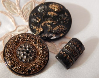 Silver and Gold Luster on Black Glass Buttons - 3
