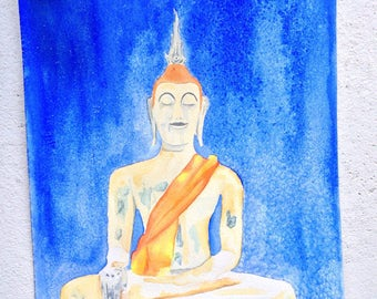 Watercolor, buddha, painting, art, artwork, zen, original, yoga art, meditating buddha, temple art, resting buddha, eastern art