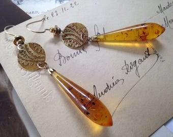 Amber Teardrops Upcycled Antique Earrings