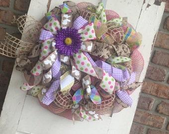 Burlap and jute spring wreath
