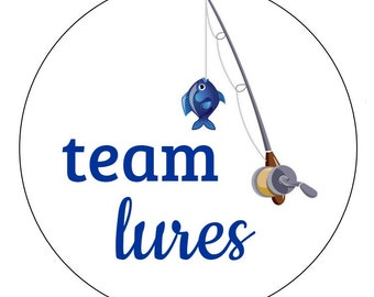 24 Team Lures Stickers, Baby Shower, Gender Reveal, Lures and Lace, Shower, Fishing Stickers, Team Boy, It's a Boy, Team Blue, Reveal Labels