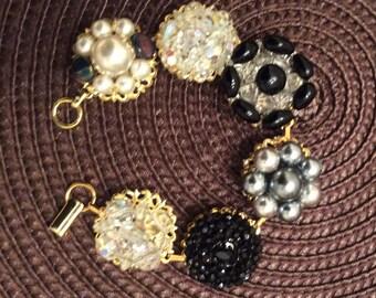 Sparkling Upcycled Vintage Earring Bracelet
