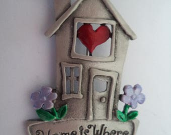 Vintage Signed JJ Silver pewter Home is Where the Heart Is Brooch/Pin