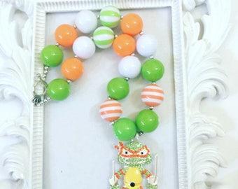 Children's Ninja Chunky Necklace, Girl's Ninja Turtle Gumball Necklace, Beaded TMNT Necklaces, TMNT Chunky Beaded Necklaces, TMNT Jewelry