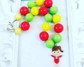 Gymnastic Chunky Necklace, Gymnastic Gumball Necklace, Gymnastic Beaded Necklace, Gymnastic Jewelry For girls, Gymnastic Rhinestone Pendants