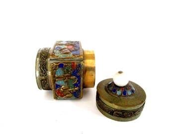 Antique Chinese Snuff Box, Enameled Brass Snuff Box,  Round Enameled Lidded Stash or Storage Box