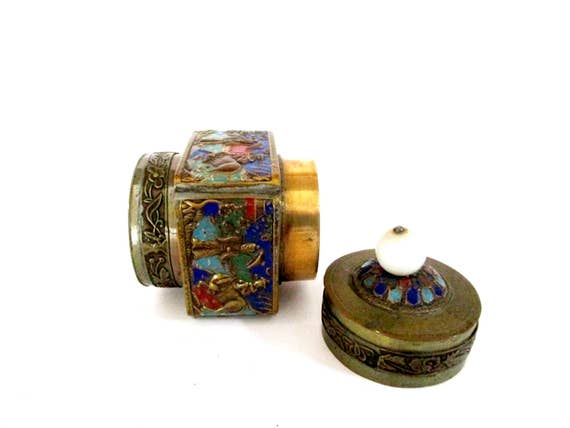 Antique Chinese Snuff Box, Enameled Brass Snuff Box,  Round Enameled Lidded Stash or Storage Box