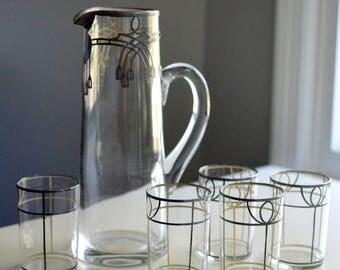 Art Deco Pitcher Glasses Set Sterling Silver Overlay Monogram O'C