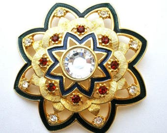 Jackie Kennedy Kilt Pin - Enameling, Crystals, Box and Certificate