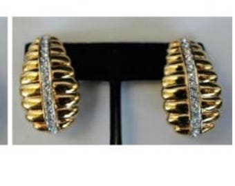 Nolan Miller Clip On Earrings - Gold Tone Ribbed with Crystals  - S2060