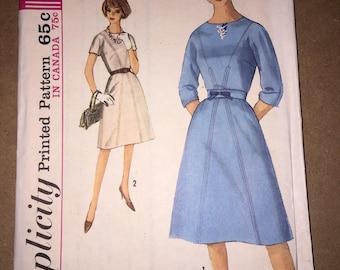 Vintage 1960s Simplicity 5063 Dress Pattern, Size 14