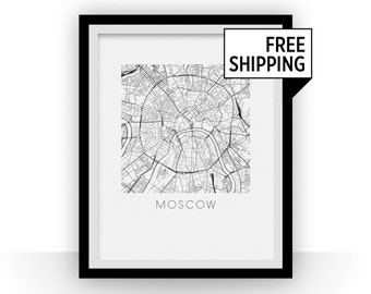 Moscow Map Black and White Print - russia Black and White Map Print