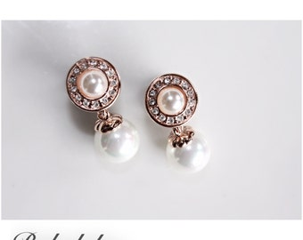Pearl rhinestone dangle single flare tunnels or wedding plugs for gauged or stretched ears: Sizes 6g 4g 2g 0g