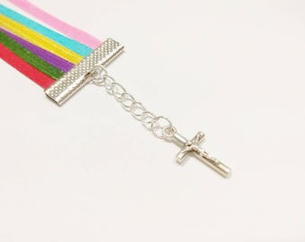 Cross Charm 6 Strand Multiple Colors Bookmark | Bible Bookmark | Multi Page Bookmark
