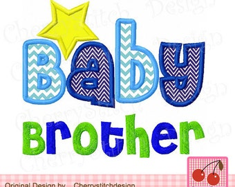 Baby Brother,Brother Digital Applique -approximate 4x4 5x5 6x6 inches-Machine Embroidery Applique Design