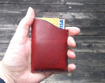 Leather card holder / credit card, visa, mastercard, Handmade, hand stitched Reddish Brown
