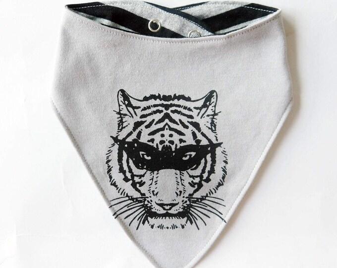 Reversible Masked Tiger Superhero Baby Bib - Unisex Stripes Alternative Anchor Wrestling Tattoo Boys Dribble Cloth