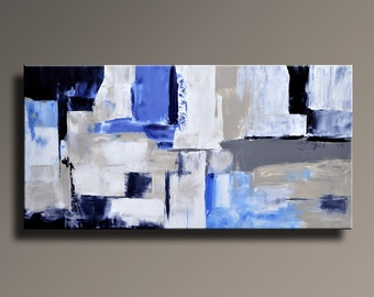 ABSTRACT PAINTING Black White Blue Gray Painting Original Large Canvas Art Contemporary Abstract Modern Art Wall Decor - Unstretched - 36C