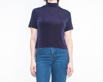 on sale - 90s dark blue slinky crinkled t-shirt / navy short sleeve mock neck top / size L