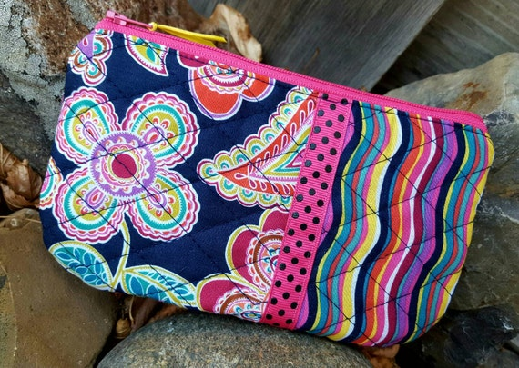 Quilted  Cosmetic Bag, Floral Zipper Bag