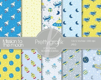 80% OFF SALE space digital paper, commercial use, scrapbook papers, background  - PS543