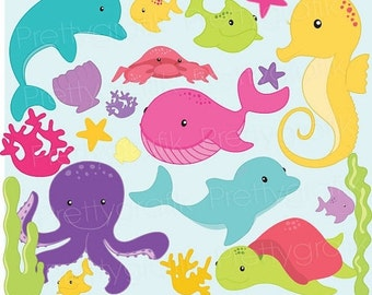 80% OFF SALE Sea animal clipart commercial use, vector graphics, digital clip art, digital images  - CL516