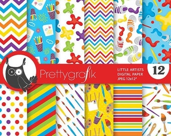 80% OFF SALE Artist art class digital paper, commercial use, scrapbook papers, background chevron, stripes - PS749