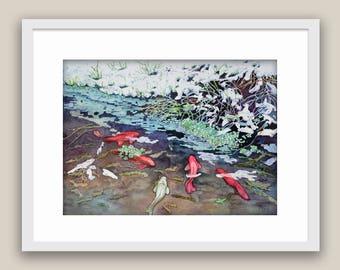 "Fishing Place Watercolor Art Original painting by Tamara Shturba -  12""X9"""