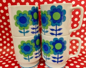 Mod Coffee Cups, Mid Century Modern Cups, Vintage Tea Cups, Vintage Coffee Cups, Flower Power, Kitschy Kitsch