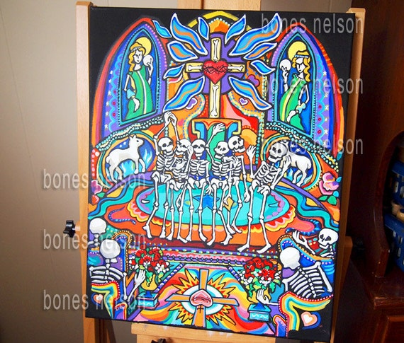 Day Of The Dead Wall Art day of the dead 12x16 canvas painting acrylic wall