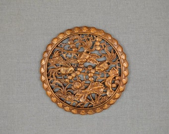 Rustic Vintage Collectibles Craft Art Wood Carving Flower  Goldfish Sculpture Home Decor Ideas