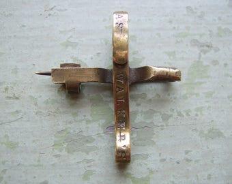 Unusual Antique Brass Pin - Medal/Medallion/Pocket Watch Suspension Pin.