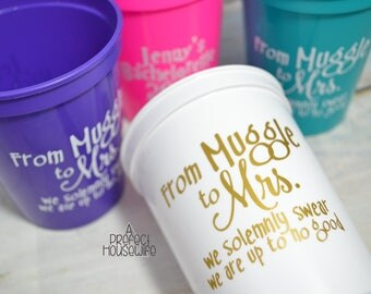 From Muggle To Mrs Personalized Bachelorette Party 16oz Stadium Cups Bride's White Free With 3+ Purchase | Reusable Party Cup | Harry Potter