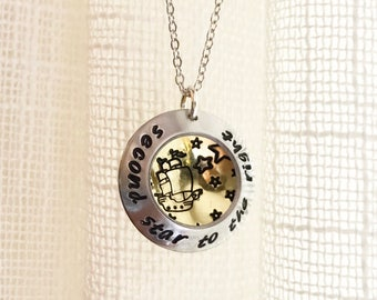 Second star to the right, peter pan necklace, neverland locket style dome hand stamped necklace