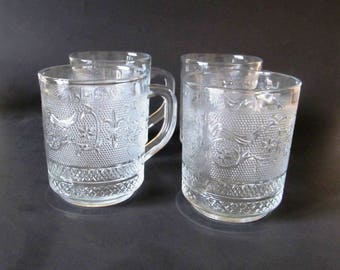 Four KIG Malaysia Pressed Glass Mugs, Cups, Fleur de Lis Pattern