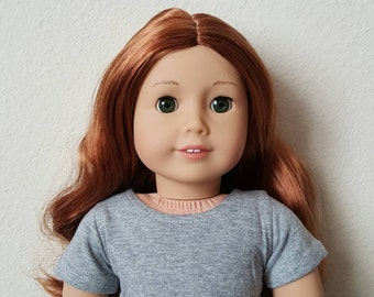 Grey Cropped tshirt for 18 inch dolls by The Glam Doll