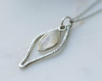 Sterling Silver Hammered Moonstone Pendant / Oxidized silver pendant / Faceted Moonstone silver Necklace
