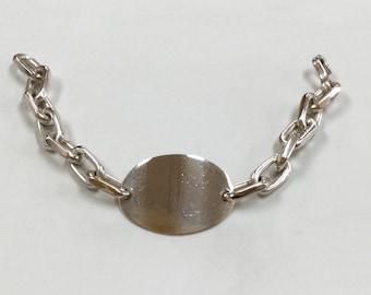 Vintage  Solid 925  Sterling Silver Chain  Bracelet!!!