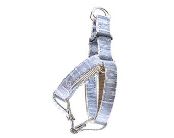 Southwest Chambray Dog Harness - Aztec Tribal Chambray Denim Front Clip Step In No Pull Harness
