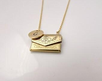 Envelope Locket Necklace, Love Letter Necklace, Bridesmaid Gifts, Vintage Locket, UK Seller, Gifts for Girls, Locket, BFF, Initial Locket