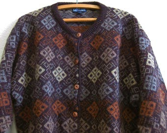 Brown Cardigan Wool Silk SCOTLAND Lands End  - Gray Geometric Pattern Cardigan Large Sweater