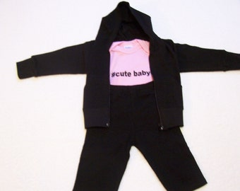 Baby Hoodie ~ Baby Sweat Pants ~ Baby Clothing ~ Baby Bodysuit ~ Baby Hoodie and Sweats ~  3 Piece Baby Outfit ~ Baby Gift